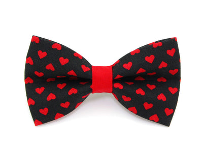 "Valentine Bow Tie Cat Collar Set - ""Secret Admirer"" - Red & Black Heart Cat Collar w/ Matching Bow Tie (Removable)"