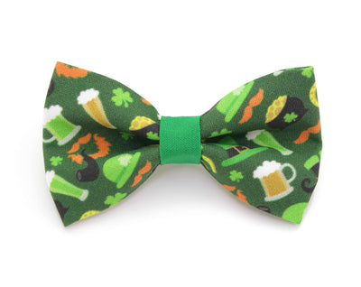 "St. Patrick's Day Bow Tie Cat Collar Set - ""Wee Bit Irish"" - Green Sparkle ""Bewitched"" Collar w/ Irish Bowtie (Removable)"