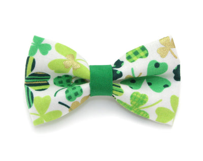 "St. Patrick's Day Bow Tie Cat Collar Set - ""Shamrock Gold"" - Green & Gold Shamrock Collar w/ Matching Bowtie (Removable)"