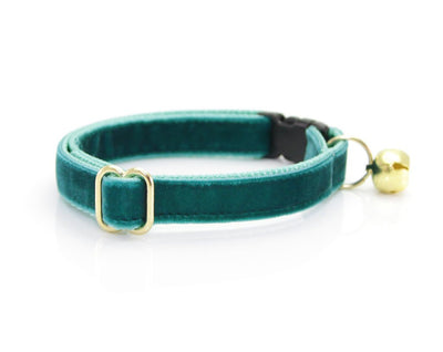 "Velvet Bow Tie Cat Collar Set - ""Velvet - Ocean Teal"" - Blue/Green Teal Velvet Cat Collar w/ Matching Velvet Bow Tie (Removable)"