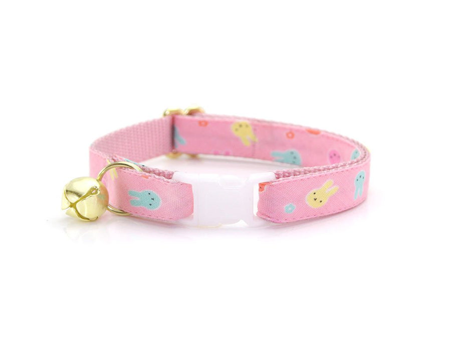"Easter Bow Tie Cat Collar Set - ""Bunny Peeps"" - Pink Pastel Easter Bunny Cat Collar w/ Matching Bow Tie (Removable)"