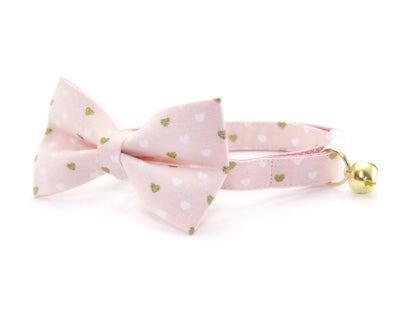 "Valentine's Day Cat Collar - ""Devotion - Pink"" - Gold Mini Hearts on Light Pink - Breakaway Buckle or Non-Breakaway / Cat, Kitten + Small Dog Sizes"