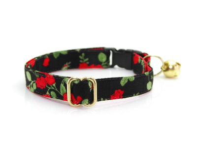 "Floral Cat Collar - ""Rose Garden"" - Red Roses on Black - Breakaway Buckle or Non-Breakaway / Cat, Kitten + Small Dog Sizes"