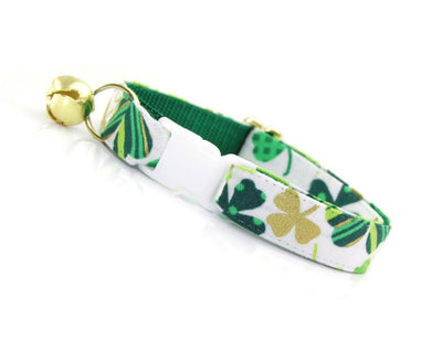 "St. Patrick's Day Cat Collar - ""Shamrock Gold"" - Green & Gold Shamrocks - Breakaway Buckle or Non-Breakaway / Cat, Kitten + Small Dog Sizes"