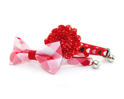 "Cat Bow Tie - ""True Love"" - Modern Red Plaid Bowtie / For Cats + Small Dogs / Removable (One Size)"