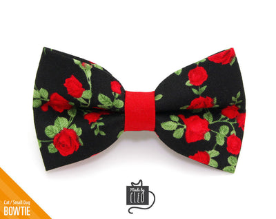 "Valentine's Day Cat Bow Tie - ""Rose Garden"" - Red Roses on Black Floral Bowtie / For Cats + Small Dogs / Removable (One Size)"