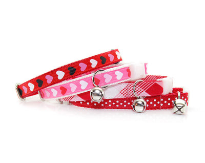 "Valentine's Day Cat Collar - ""Candy Hearts - Red"" - Multi-colored Hearts on Red - Breakaway Buckle or Non-Breakaway / Cat, Kitten + Small Dog Sizes"