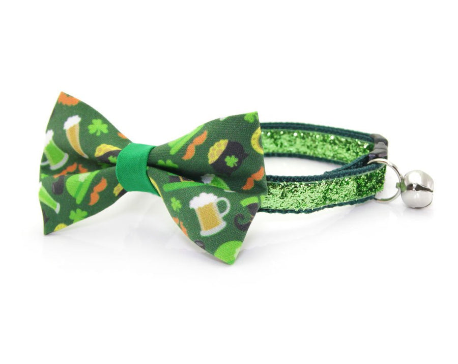 "St. Patrick's Day Cat Bow Tie - ""Wee Bit Irish"" - St. Paddy's Pub-Themed Bowtie / For Cats + Small Dogs / Removable (One Size)"