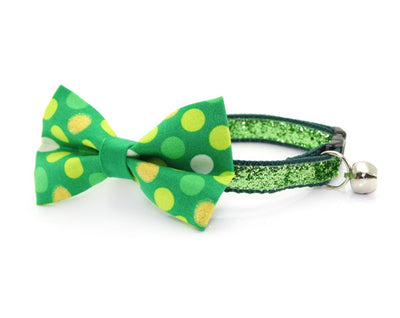 "St. Patrick's Day Cat Bow Tie - ""Blarney Stone"" - Irish Polka Dot Bowtie / For Cats + Small Dogs / Removable (One Size)"