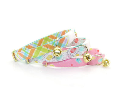 "Cat Collar + Flower Set - ""Carrot Patch"" - Spring Plaid Cat Collar w/ Buttercup Felt Yellow Flower (Detachable)"
