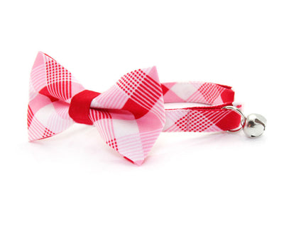 "Bow Tie Cat Collar Set - ""True Love"" - Modern Red Plaid Cat Collar w/ Matching Bow Tie (Removable)"