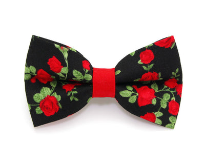 "Floral Bow Tie Cat Collar Set - ""Rose Garden"" - Red Roses on Black Cat Collar w/ Matching Bow Tie (Removable)"