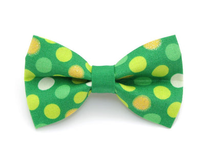 "St. Patrick's Day Bow Tie Cat Collar Set - ""Blarney Stone"" - Green Sparkle ""Bewitched"" Cat Collar w/ Polka Dot Bow Tie (Removable)"