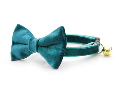 "Velvet Cat Collar - ""Ocean Teal"" - Blue-Green Luxe Velvet - Breakaway Buckle or Non-Breakaway / Cat, Kitten + Small Dog Sizes"