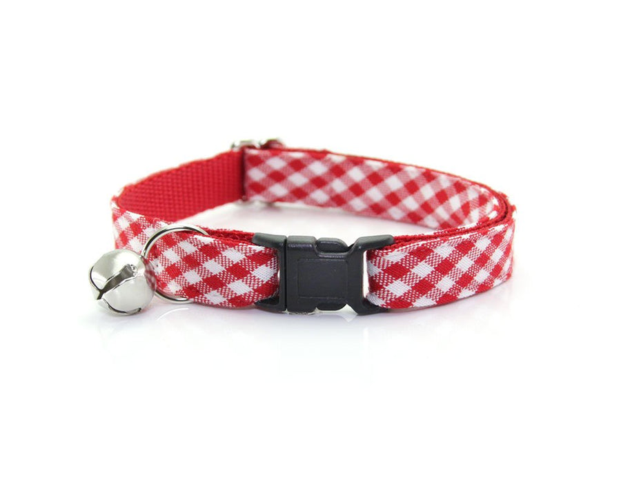 "Cat Collar + Flower Set - ""Charleston"" - Red Gingham Plaid Cat Collar w/ ""Scarlet"" Flower (Detachable)"