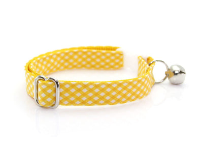 "Cat Collar + Flower Set - ""Golden Afternoon"" Yellow Gingham Plaid Cat Collar w/ ""Buttercup"" Yellow Felt Flower (Detachable)"