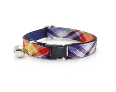 "Cat Collar + Flower Set - ""Vacation"" Madras Plaid Cat Collar w/ ""Red"" Felt Flower (Detachable)"