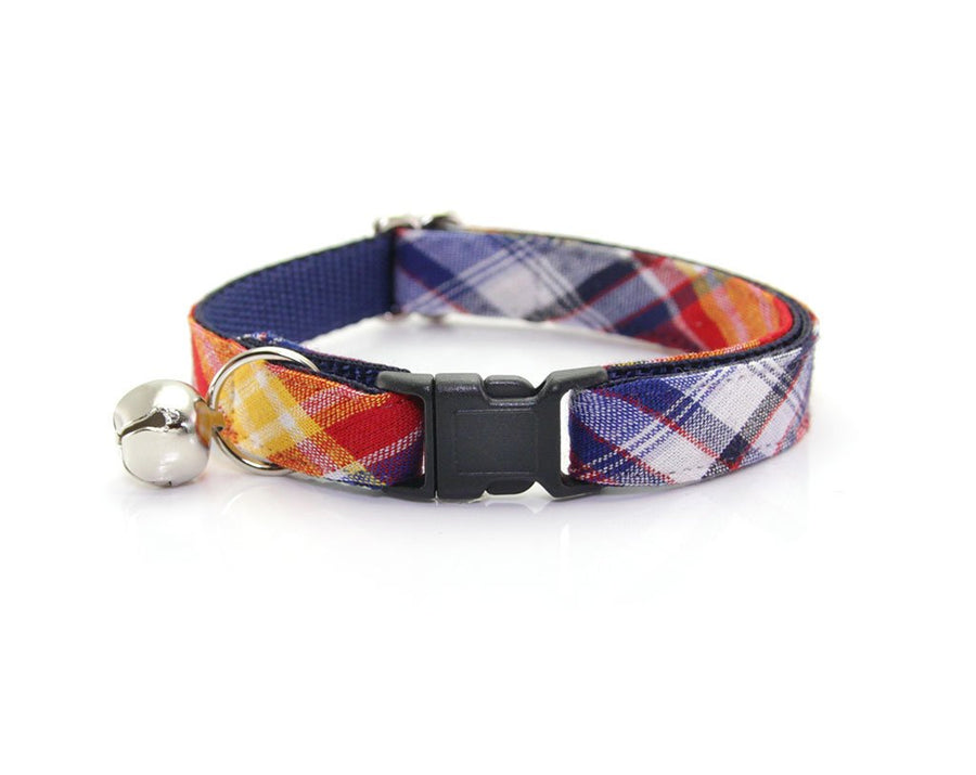 "Cat Collar + Flower Set - ""Vacation"" Madras Plaid Cat Collar w/ ""Red Polka Dot"" Flower (Detachable)"