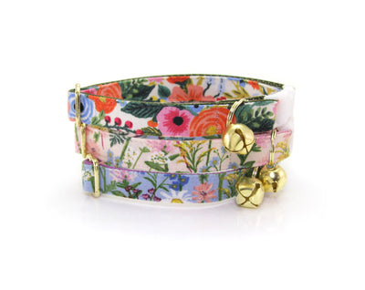 "Cat Collar + Flower Set - ""Wildflowers - Pink"" - Rifle Paper Co® Floral Cat Collar w/ ""Coral Pink"" Flower (Detachable)"