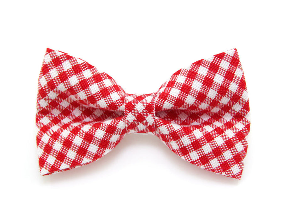 "Bow Tie Cat Collar Set - ""Charleston"" - Red Gingham Plaid Cat Collar w/ Matching Bow Tie (Removable)"