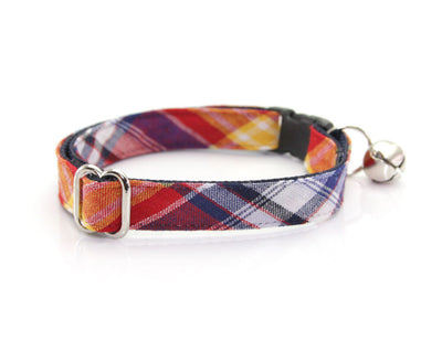 "Bow Tie Cat Collar Set - ""Vacation"" - Red Madras Plaid Cat Collar w/ ""Weekend"" Denim Dot Bow Tie (Removable)"