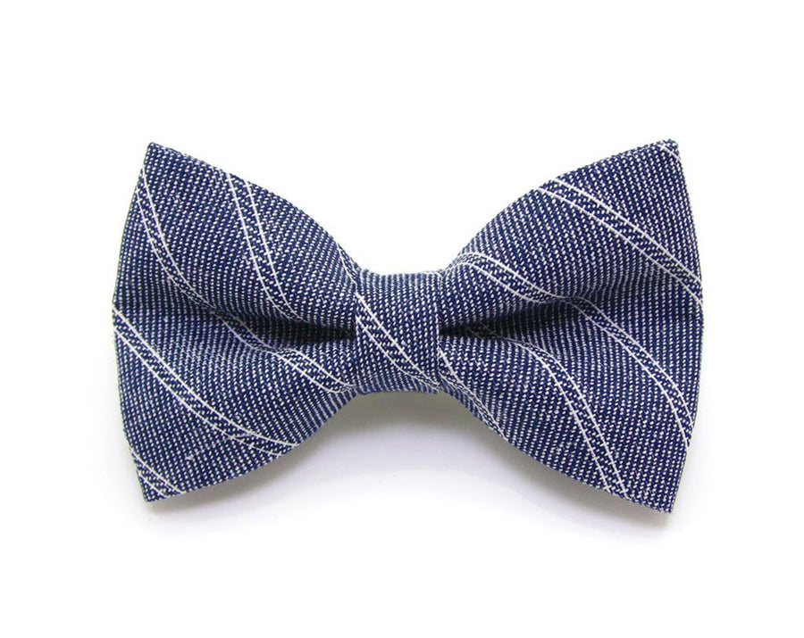 "Bow Tie Cat Collar Set - ""First Date"" - Denim Pinstripe Cat Collar w/ Matching Bow Tie (Removable)"