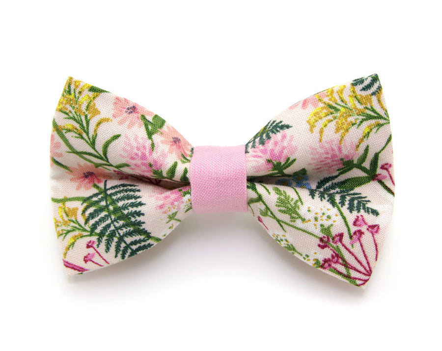 "Bow Tie Cat Collar Set - ""Wildflowers - Pink"" - Rifle Paper Co® Floral Cat Collar w/ Matching Bow Tie (Removable)"