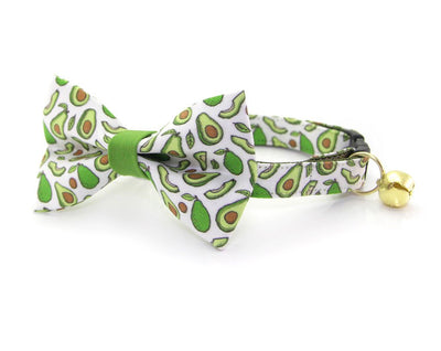 "Bow Tie Cat Collar Set - ""Avocado Baby - Green"" - Cat Collar w/ Matching Bow Tie (Removable)"