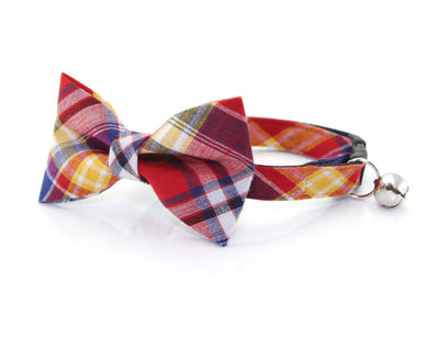 "Cat Collar - ""Vacation"" - Red, Navy & Yellow Madras Plaid - Breakaway Buckle or Non-Breakaway / Cat, Kitten + Small Dog Sizes"