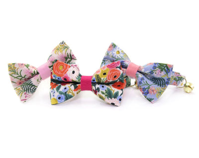 "Cat Collar - ""Wildflowers - Pink"" - Rifle Paper Co® Floral - Breakaway Buckle or Non-Breakaway / Cat, Kitten + Small Dog Sizes"