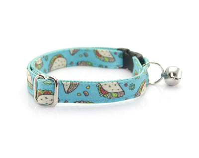 "Cat Collar - ""Taco Party - Aqua"" - Breakaway Buckle or Non-Breakaway / Cat, Kitten + Small Dog Sizes"