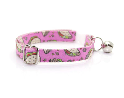 "Cat Collar - ""Taco Party - Pink"" - Breakaway Buckle or Non-Breakaway / Cat, Kitten + Small Dog Sizes"
