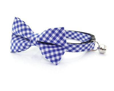"Cat Bow Tie - ""Atlantic"" - Blue Gingham Plaid Bowtie / For Cats + Small Dogs / Removable (One Size)"