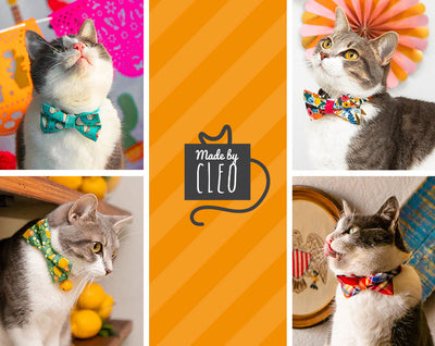 "Cat Bow Tie - ""Lemon Trees - Yellow"" - Citrus Bowtie / For Cats + Small Dogs / Removable (One Size)"