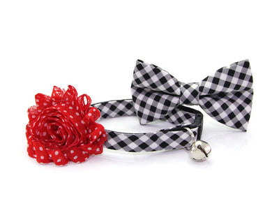 "Cat Bow Tie - ""Moon River"" - Black Gingham Plaid Bowtie / For Cats + Small Dogs / Removable (One Size)"