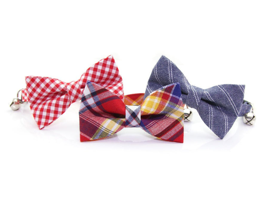 "Cat Bow Tie - ""Vacation"" - Red, Navy & Yellow Madras Plaid Bowtie / For Cats + Small Dogs / Removable (One Size)"