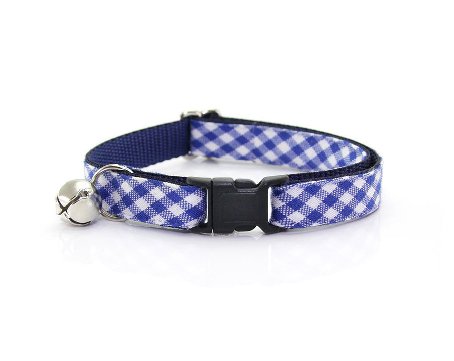 "Cat Collar + Flower Set - ""Atlantic"" - Royal Blue Gingham Plaid Cat Collar w/ ""Sky"" Flower (Detachable)"