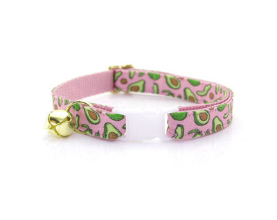 "Cat Collar + Flower Set - ""Avocado Baby - Pink"" Cat Collar w/ ""Baby Pink"" Flower (Detachable)"
