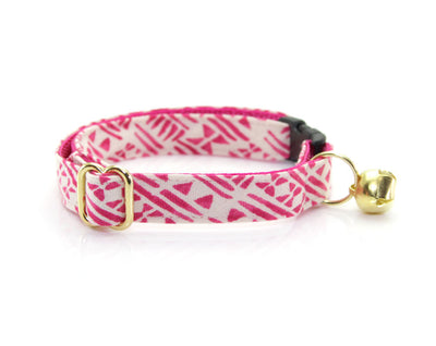 "Cat Collar + Flower Set - ""Aztec Pink"" Tribal Cat Collar w/ ""Fuchsia"" Felt Flower (Detachable)"