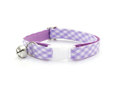 "Cat Collar + Flower Set - ""Lavender Lane"" Purple Gingham Plaid Cat Collar w/ ""Lavender"" Flower (Detachable)"