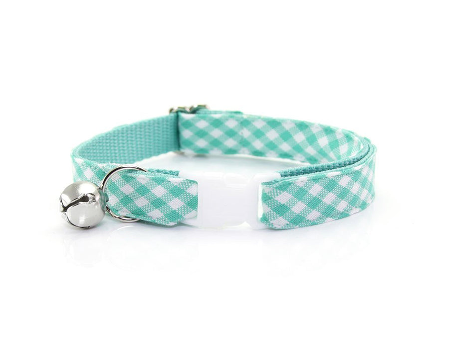 "Cat Collar + Flower Set - ""Mint Julep"" Seafoam Gingham Plaid Cat Collar w/ ""Mint"" Flower (Detachable)"