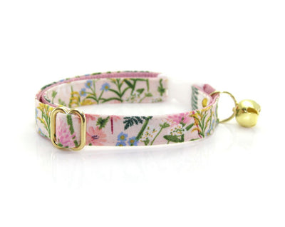 "Cat Collar + Flower Set - ""Wildflowers - Pink"" - Rifle Paper Co® Floral Cat Collar w/ ""Baby Pink"" Felt Flower (Detachable)"