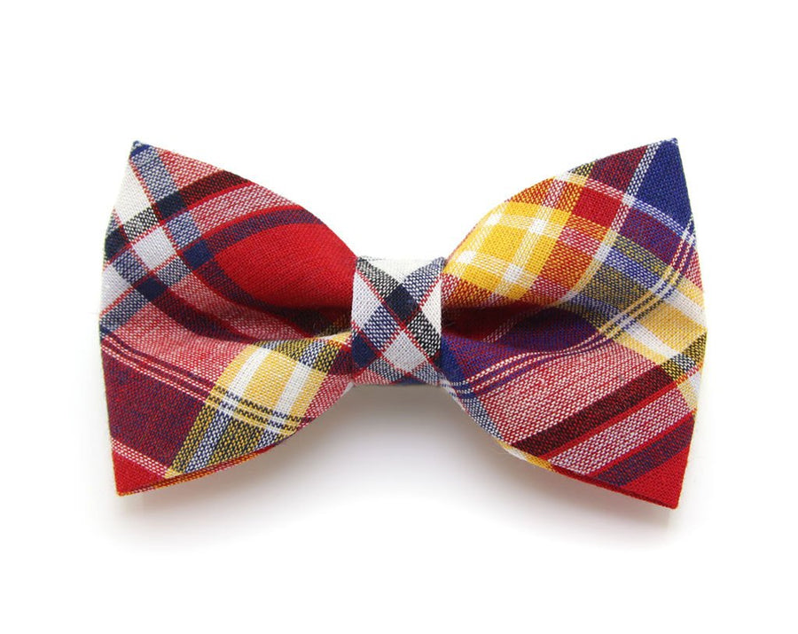 "Bow Tie Cat Collar Set - ""Vacation"" - Red Madras Plaid Cat Collar w/ Matching Bow Tie (Removable)"