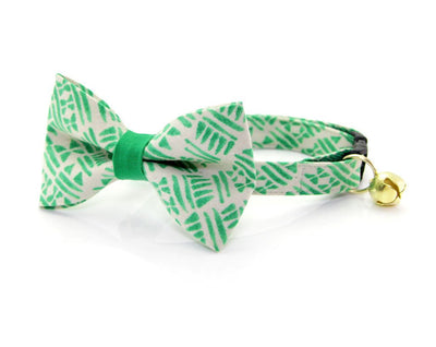 "Bow Tie Cat Collar Set - ""Aztec Green"" - Tribal Cat Collar w/ Matching Bow Tie (Removable)"