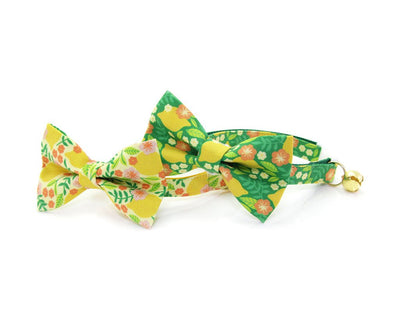 "Bow Tie Cat Collar Set - ""Lemon Trees - Yellow"" - Botanical Cat Collar w/ Matching Bow Tie (Removable)"