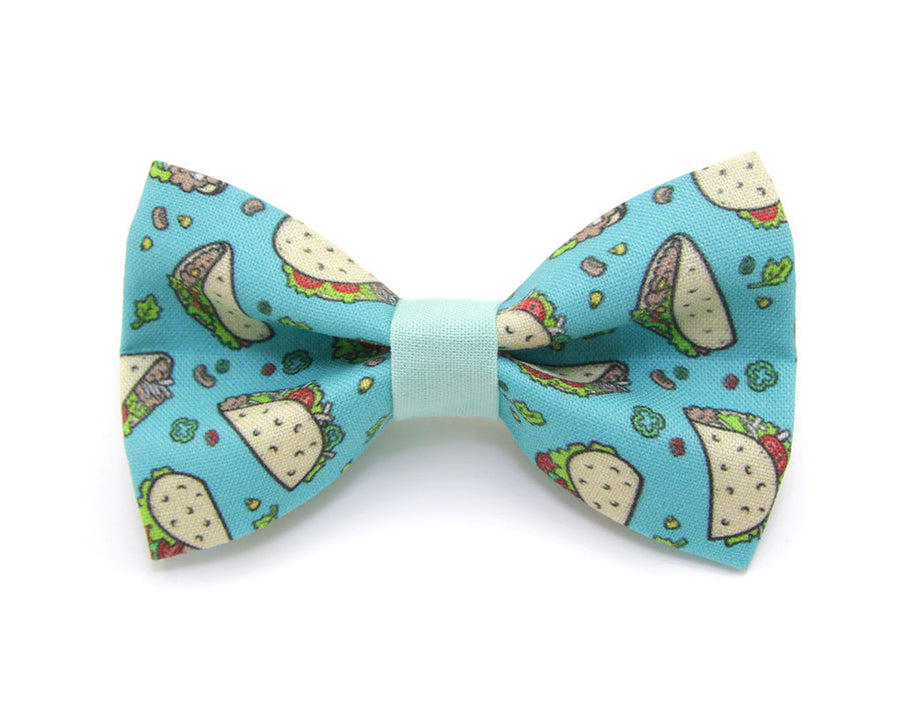 "Bow Tie Cat Collar Set - ""Taco Party - Aqua"" - Cat Collar w/ Matching Bow Tie (Removable)"