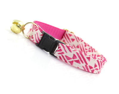 "Cat Collar - ""Aztec Pink"" - Boho Modern / Fuchsia & Ecru - Breakaway Buckle or Non-Breakaway / Cat, Kitten + Small Dog Sizes"