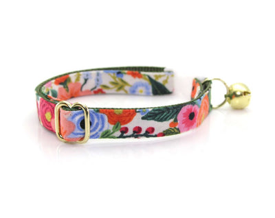 "Cat Collar - ""Garden Party"" - Rifle Paper Co® Floral - Breakaway Buckle or Non-Breakaway / Cat, Kitten + Small Dog Sizes"