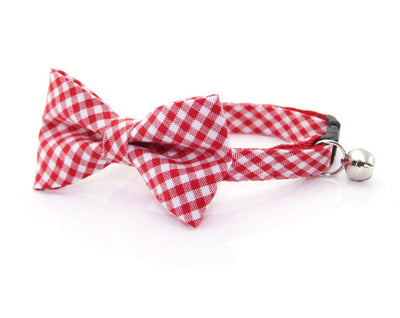 "Cat Bow Tie - ""Charleston"" - Red Gingham Plaid Bowtie / For Cats + Small Dogs / Removable (One Size)"