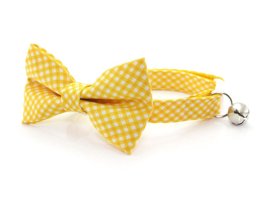 "Cat Bow Tie - ""Golden Afternoon"" - Yellow Gingham Plaid Bowtie / For Cats + Small Dogs / Removable (One Size)"